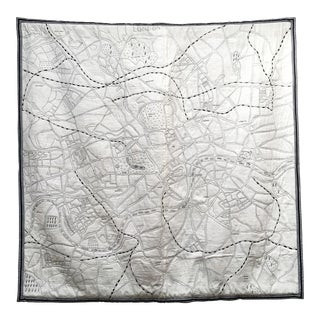 Bespoke Textile Maps: Embroidered Map of London Wall Hanging