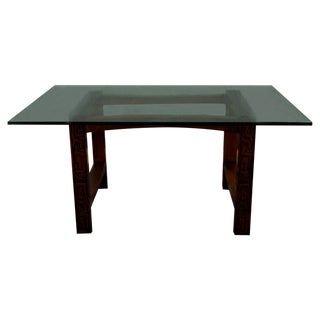 Vintage Hand-Carved Dining Table With Glass Top