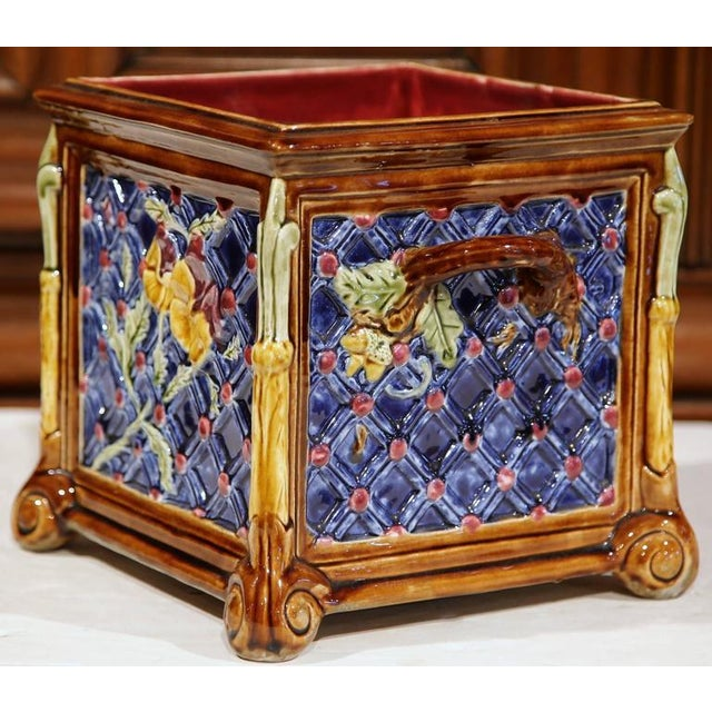 French Hand-Painted Barbotine Planter - Image 2 of 6