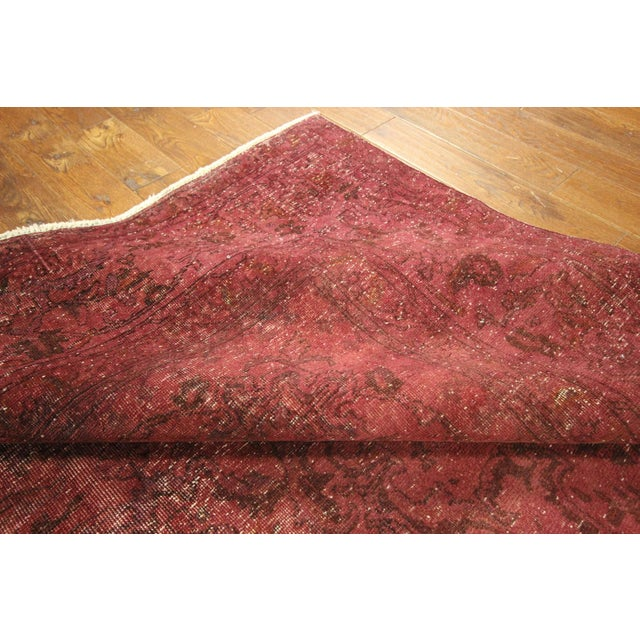 Image of Persian Overdyed Rose Red Tabriz Rug 10' x 13'