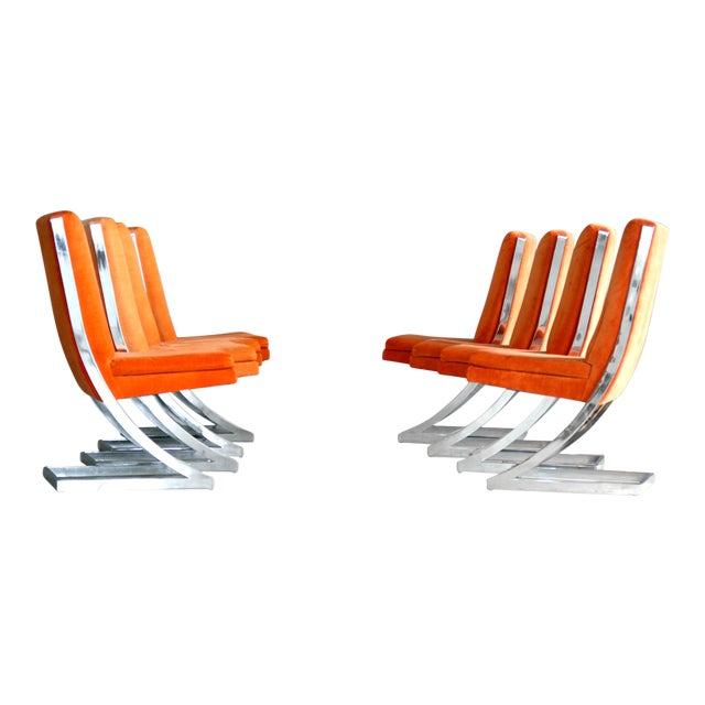 Image of Milo Baughman Eight Chrome 'Z-Dining Chairs' for Design Institute of America