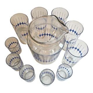 Mid-Century Diamond Pattern Pitcher & 10 Glasses