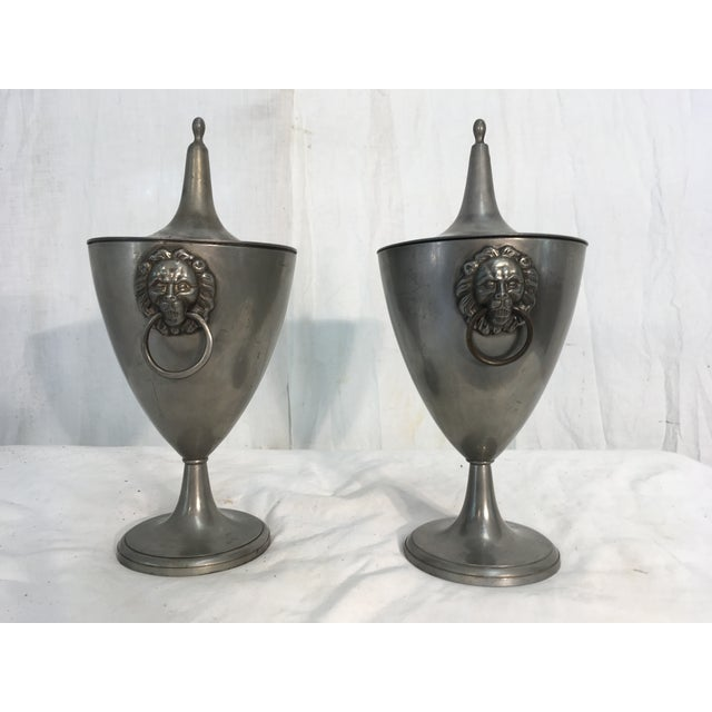 19th C. English Pewter Urns - A Pair - Image 5 of 9
