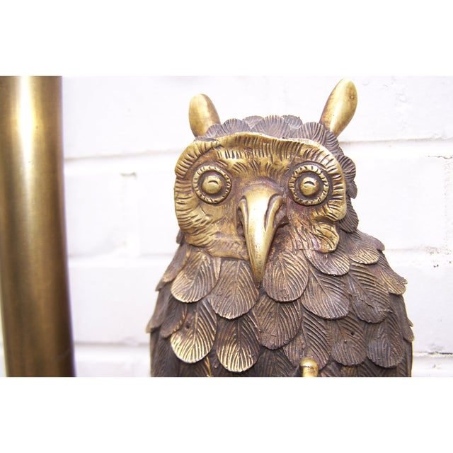 Image of 1950s Sculptural Brass Marbro Owl Lamp