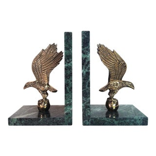 Vintage Brass Eagle & Green Marble Bookends - A Pair