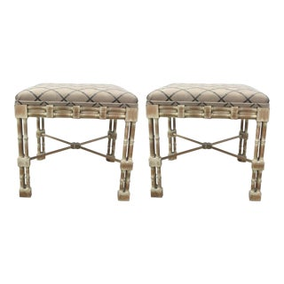Vintage Faux Bamboo Ottomans - A Pair
