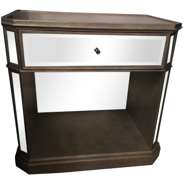 1930s Style French Mirrored Open Nightstand - Image 1 of 5