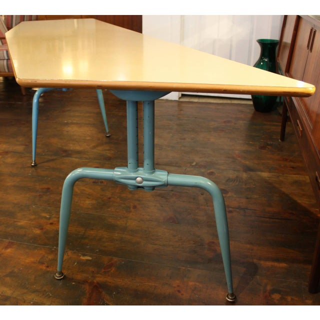 1950s French Laminated Plywood and Steel Adjustable Table - Image 4 of 10