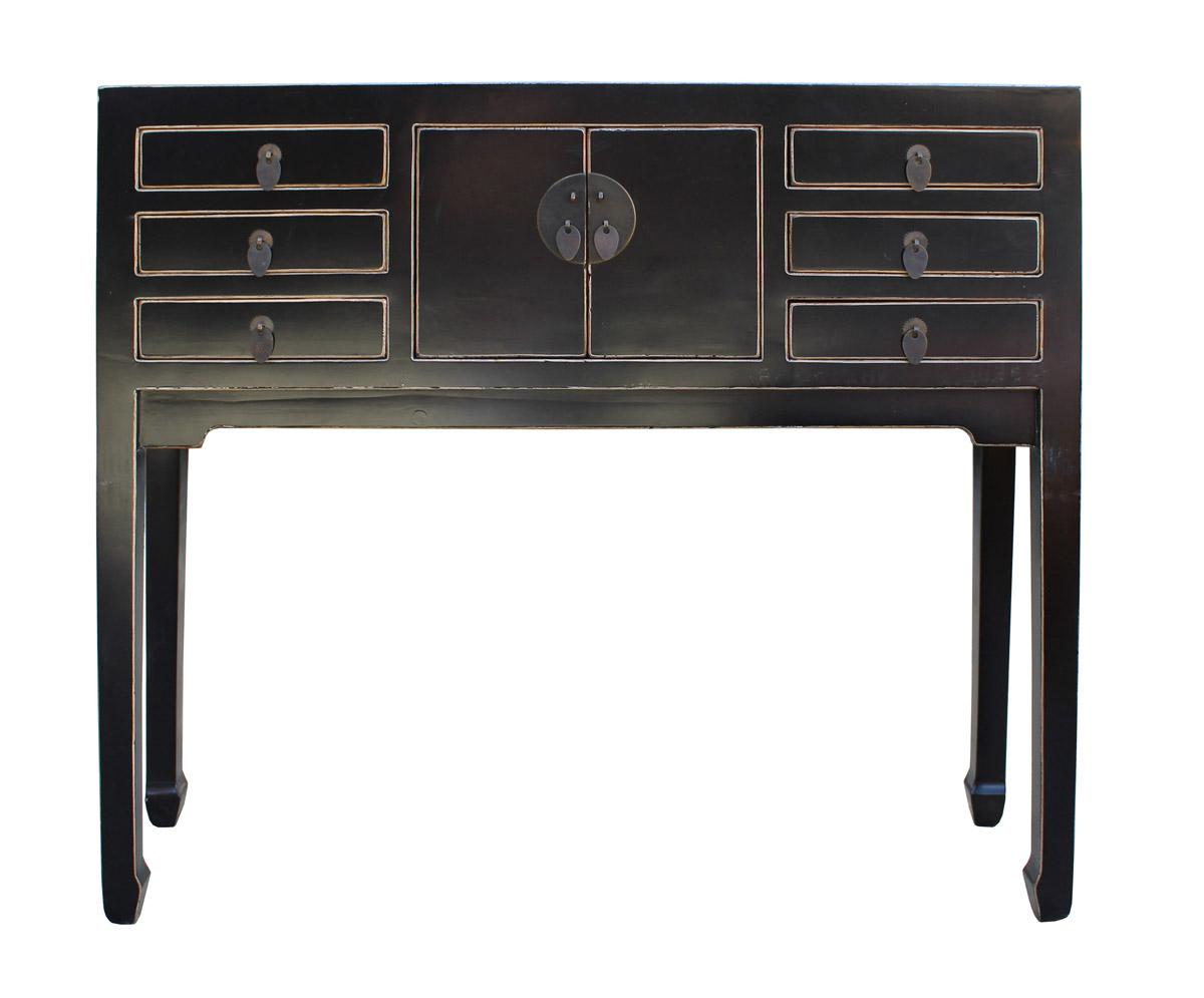 Chinese Distressed Black Narrow Slim Foyer Side Table   Image 2 Of 6