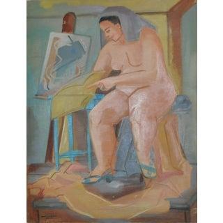 Vintage 1940's Figurative Nude Oil Painting