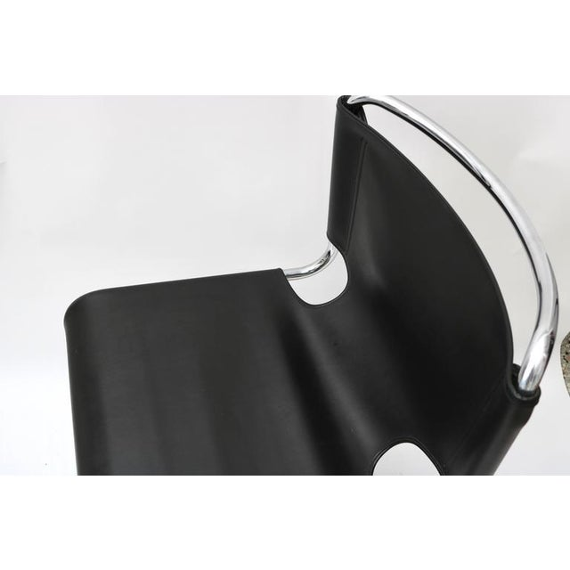 "Set of Four ""Briscia"" Side Chairs in Polished Chrome and Black Leather - Image 3 of 7"
