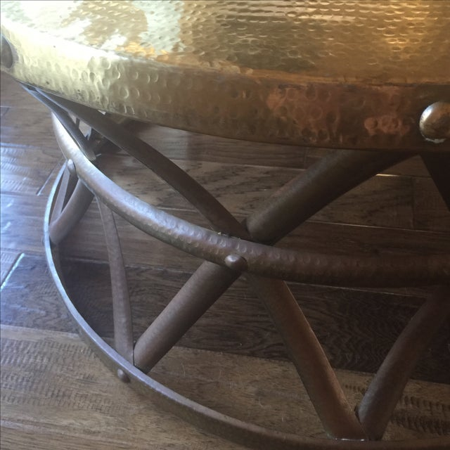 Mid-Century Hammered Brass Coffee Table - Image 3 of 8