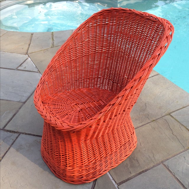Vintage Bright Orange Wicker Chair - Image 2 of 11