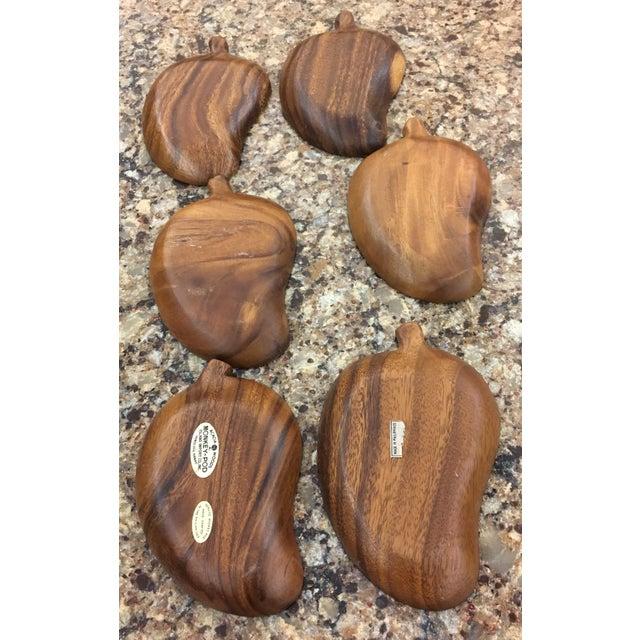 Mid-Century Monkey Pod Leaf Bowls- Set of 6 - Image 6 of 6