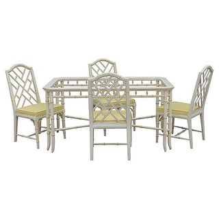 1970's Faux Bamboo Dining Set - 5 Pieces