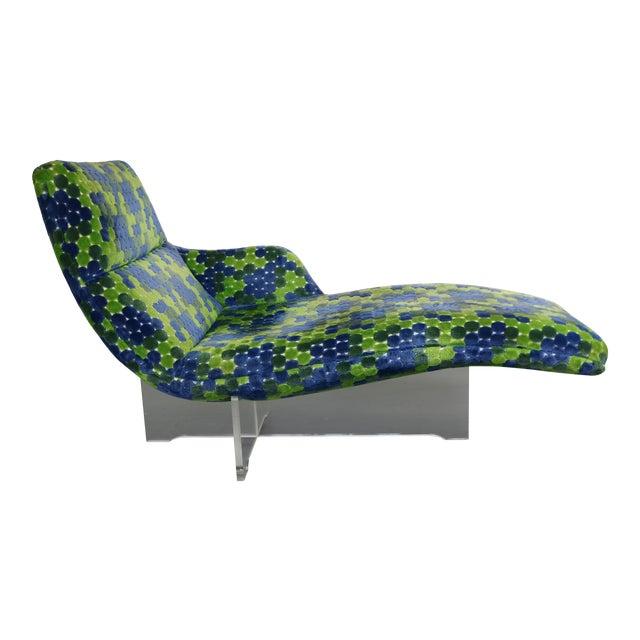 Vladimir Kagan Erica Lucite & Original Fabric Chaise - Image 1 of 8