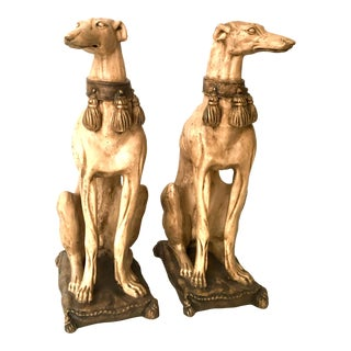 Greyhound Dog Statues Opposing Designs - A Pair