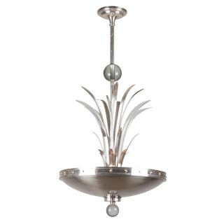 Walter Von Nessen Nickel and Glass Chandelier, American, 1930s