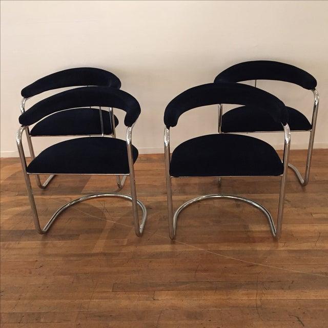 Chrome & Velvet Armchairs - Set of 4 - Image 2 of 7