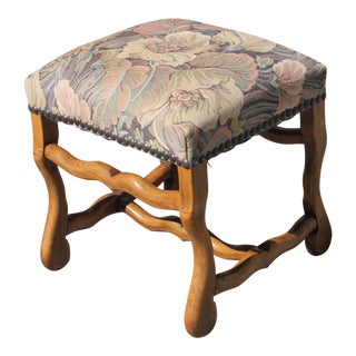 MID-19TH CENTURY FRENCH LOUIS XIII STYLE OS DE MOUTON WALNUT BENCH OR STOOL .