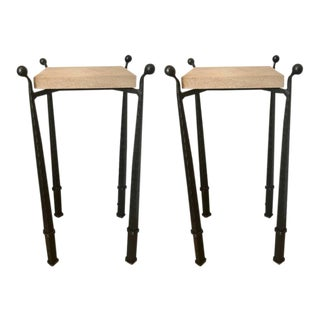 Forged Iron & Limestone Side Tables - A Pair