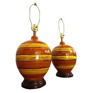Large Mid-Century Ceramic & Walnut Lamps - A Pair