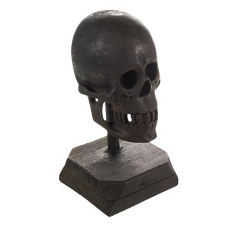 19th Century Folk Art Hand Carved Wooden Skull