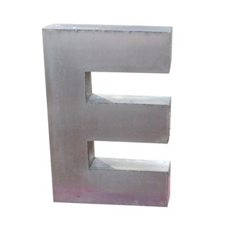 """Antique Industrial Stainless Steel Metal Letter """"E"""""""