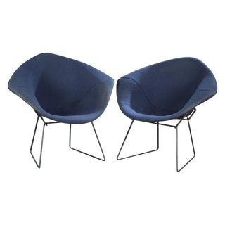 Knoll Bertoia Vintage Blue Diamond Chairs - A Pair