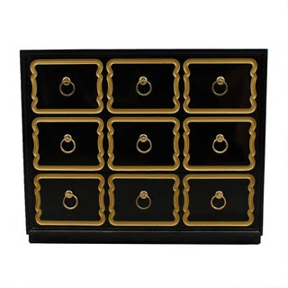 Authentic Heritage Dorothy Draper Black Lacquer Espana Chest