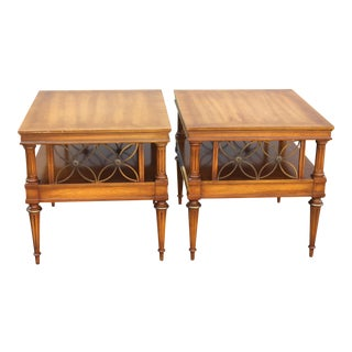 Mid Century Era Neoclassical Style Detailed End Tables - a Pair