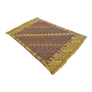 Turkish Kilim Jajim Area Rug - 4′12″ X 7′9″