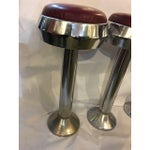 Image of Vintage Mid-Century Chrome & Leather Bar Stools - Set of 3