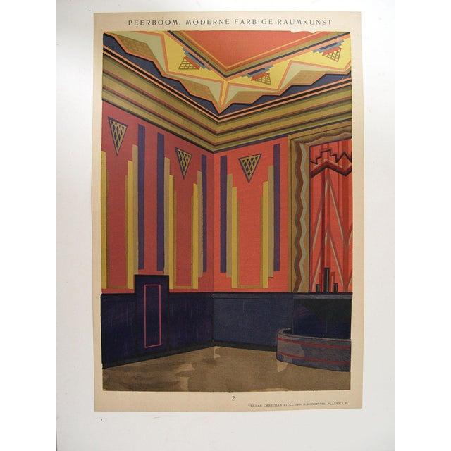 Art deco navy pink pochoir print 1929 chairish for Pochoir deco