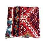 Image of Vintage Red Geometric Turkish Kilim Pillow