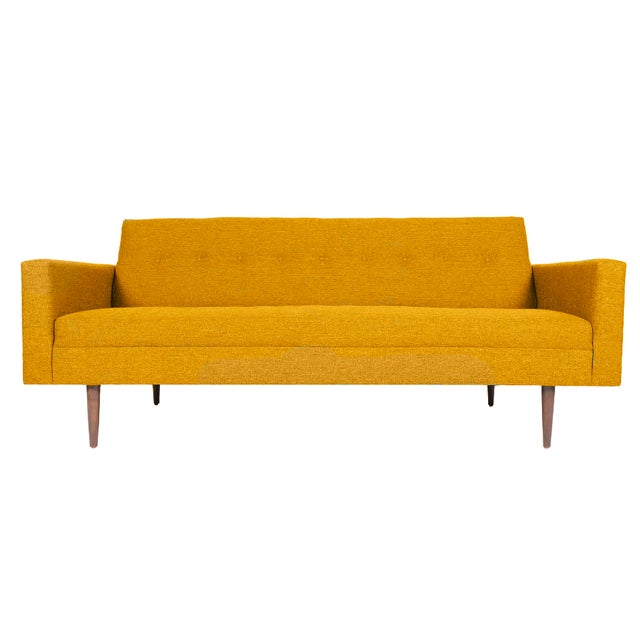 mid century style imperial sofa in harvest gold chairish. Black Bedroom Furniture Sets. Home Design Ideas