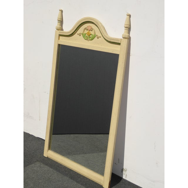 French Country Off White Floral Crest Wall Mirror - Image 11 of 11