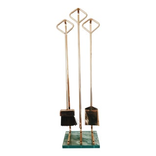 Fontana Arte Glass and Solid Brass Fireplace Tools