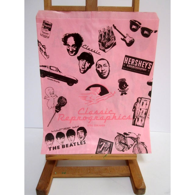 Vintage Pink Graphic Paper Bags - Set of 10 - Image 2 of 6