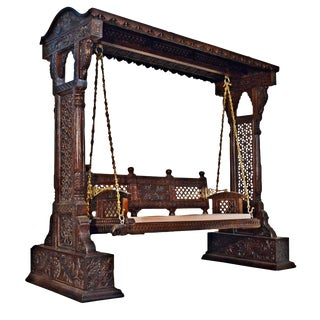 Jaisalmer Jharokha Design Wooden Carved Swing Set Indoor Jhula