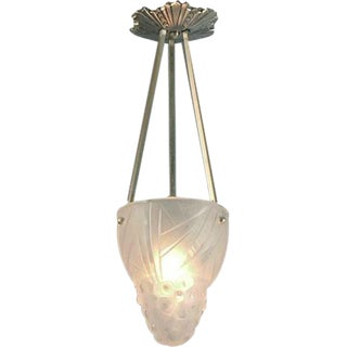 A Small, Rare French Art Deco Degué Pendant Light