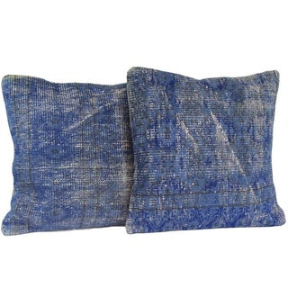 Vintage Blue Handmade Overdyed Pillow Covers - Pair