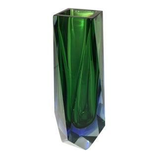 Mandruzzato Green Blue Faceted Murano Glass Sommerso Vase