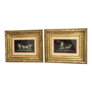 Antique Gouache Paintings of Cherubs - A Pair