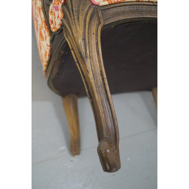 French Louis XV Vintage Red Bergere Chairs - Pair - Image 7 of 10
