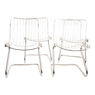 Vintage Italian Chrome Metal Dining Chairs - Set of 4