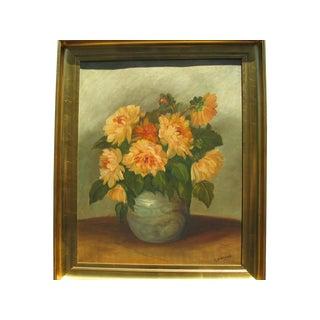 J.B. Dubois Oil Painting on Canvas, Floral Life