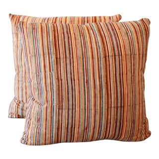 Indian Batik Stripe Hand Block Printed Pillow Covers - A Pair