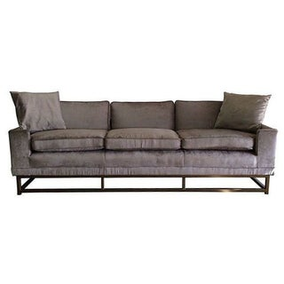 Updated 1970s Silver & Brass Modern Sofa