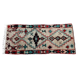 "Red & Turquoise Moroccan Rug - 8'6"" X 3'8"""